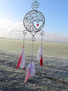 Dekorácie - lapač snov....nežná láska... (Červená) - 10813044_