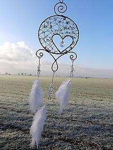 Dekorácie - lapač snov....nežná láska... (Biela) - 10813053_