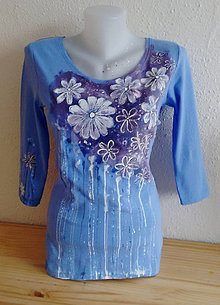 Tričká - Maľované fialové tričko - 10811937_