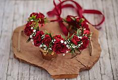 Ozdoby do vlasov - Veľký kvetinový červený venček z ruží - Ruženka - 10813331_