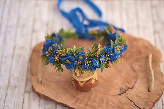 Ozdoby do vlasov - Modrý kvetinový venček MAKY - 10813149_