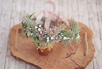 Ozdoby do vlasov - Romantický kvetinový venček šedo-fialový - 10813302_