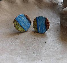 Náušnice - korkové napichovačky pestrofarebné - 10811448_