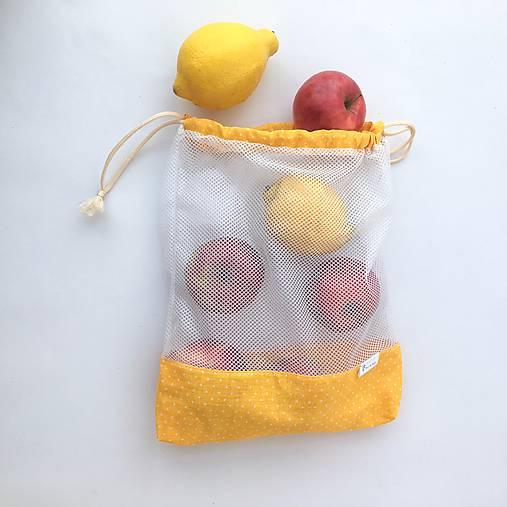 Sada eko vrecká na potraviny, ovocie, zeleninu žlté malé bodky