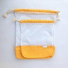 Úžitkový textil - Sada eko vrecká na potraviny, ovocie, zeleninu žlté malé bodky (sada 2 kusy) - 10812584_