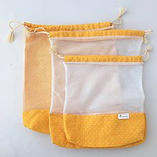 Úžitkový textil - Sada eko vrecká na potraviny, ovocie, zeleninu žlté malé bodky (sada 3 kusy) - 10812585_