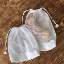 Úžitkový textil - bavlnené vrecká na pečivo a chlebík so sieťkou (sada 2 ks) - 10812738_