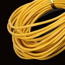 Galantéria - SK102 Šnúrka kožená 2 mm (žltá guľatá 2 mm) - 10812873_