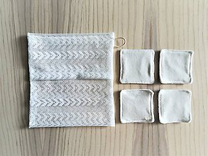 Úžitkový textil - Súprava kozmetických tampónov so sieťkou na pranie (4 x bambus / bambus) - 10812559_