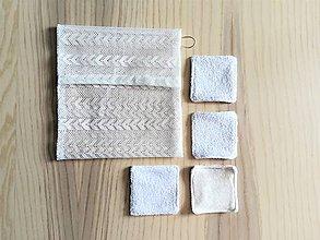 Úžitkový textil - Súprava kozmetických tampónov so sieťkou na pranie (4 x bambus / bavlna froté) - 10812562_
