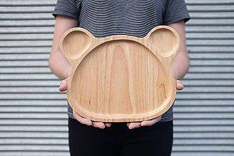 Detské doplnky - Drevený detský tanier - Medveď - 10810993_