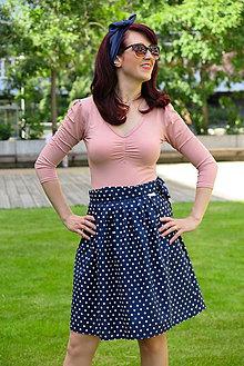 Sukne - Tmavo modrá bodkovaná retro sukňa - 10812134_