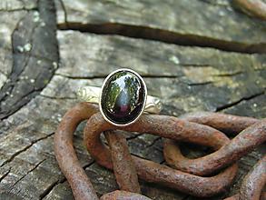 Prstene - Strieborny prsteň Ag 925 Diopsid - 10811163_