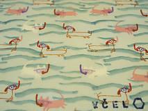 Úžitkový textil - Sir Rožok 25 x 25 cm (Šnorchlovačka vo vlnách) - 10812526_