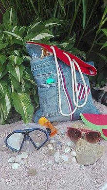 Nákupné tašky - Plážová rifľová  taška  - recyklovaný denim - 10811966_