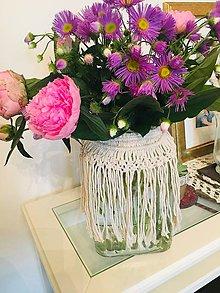 Dekorácie - Macrame ozdoba na vázu - 10811882_