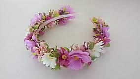 Ozdoby do vlasov - Kvetinovy vencek do vlasov v ruzovych odtienoch - 10810849_