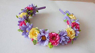 Ozdoby do vlasov - Kvetinovy vencek do vlasov s fialovym nadychom - 10810961_