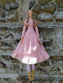 Dekorácie - Ľanový anjel pre pani učiteľku, 60 cm - 10811635_