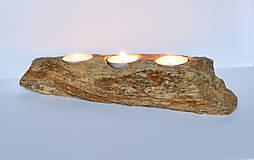 Svietidlá a sviečky - Svietnik zo skamenelého dreva - 10811142_