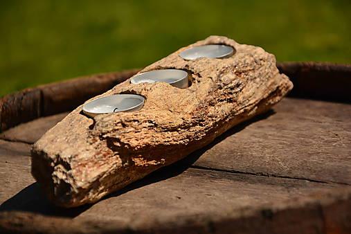 Svietnik zo skamenelého dreva