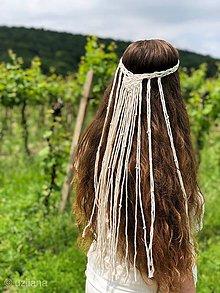 Ozdoby do vlasov - Svadobná makramé čelenka Gael - 10813280_