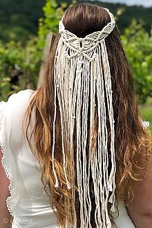 Ozdoby do vlasov - Svadobná makramé čelenka Gracelynn - 10813294_