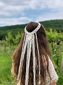 Ozdoby do vlasov - Svadobná makramé čelenka Gloriana - 10813312_