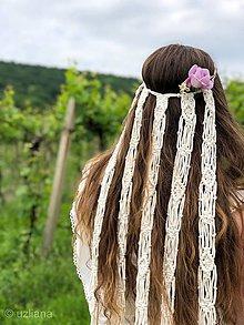 Ozdoby do vlasov - Svadobný makramé závoj Gwenn - 10813323_