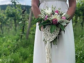 Kytice pre nevestu - Makramé ozdoba na svadobnú kyticu Ivonne - 10813367_