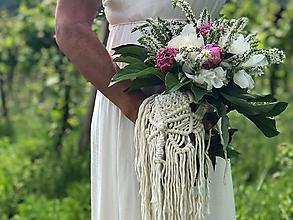 Kytice pre nevestu - Makramé ozdoba na svadobnú kyticu Isabella - 10813375_