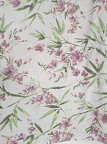 Textil - Starofialové kvety na bielej š.140 - 10812895_