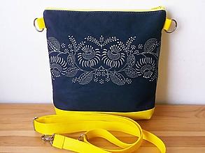 Kabelky - pastelové leto /žltá (žltá z modrotlačou) - 10811325_