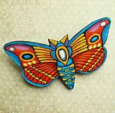 Odznaky/Brošne - Motýl - kožená brož - 10812826_