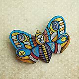 Odznaky/Brošne - Motýl - kožená brož - 10812896_