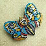 Odznaky/Brošne - Motýl - kožená brož - 10812897_