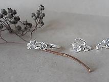 Prstene - strieborný prsteň - rozkvitnutá slivka - 10812249_