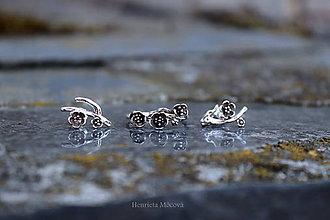 Prstene - strieborný prsteň - rozkvitnutá slivka (Patinované) - 10812221_