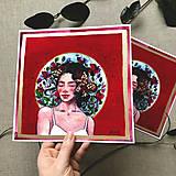 Obrazy - Dáma v červenom, (ART PRINT) akvarel - 10812362_