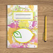 Papiernictvo - Šťavnaté ovocie - zápisník (citrón) - 10811076_