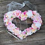 Dekorácie - Svadobné srdce pastelové na auto alebo za novomanželov - 10814625_