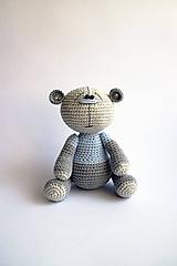 Hračky - Háčkovaný macko - Ňuňúch malý   Modrá   Šedá   Sivá - 10814084_