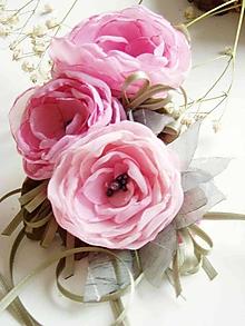 Náhrdelníky - Textilný náhrdelník ruže - 10813629_
