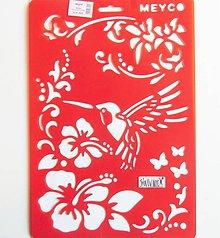 Pomôcky/Nástroje - Šablóna Meyco - 20x30 cm - ibištek, kolibrík, kvety, motýľ - 10814480_