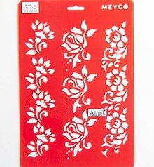 Pomôcky/Nástroje - Šablóna Meyco - ruže, ružičky, kvety, bordúra, ornament - 10814522_