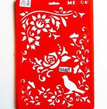 Pomôcky/Nástroje - Šablóna Meyco - 20x30 cm - vtáčik, kvety, ružičky, ruža - 10814558_