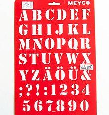 Pomôcky/Nástroje - Šablóna Meyco - 20x30 cm - abeceda, číslo, písmenká - 10814602_