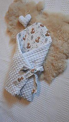 Textil - Zavinovačka z minky a 100% bavlny - vzor líška + srdiečko - 10814092_