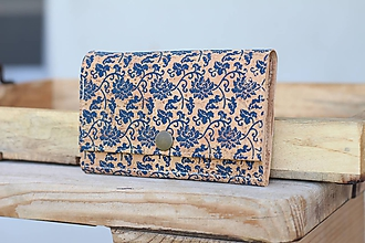 Peňaženky - Korková peňaženka M kvetinový ornament - 10814013_