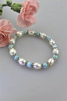 Náramky - larimar s perlou náramok luxusný - 10813506_